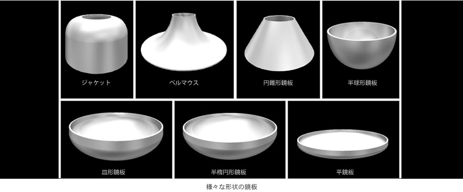 様々な形状の鏡板
